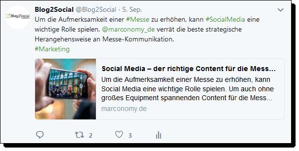 Content Curation bei Twitter mit Kommentar, Handle und Hashtags.