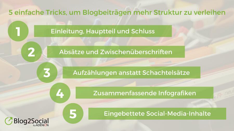 5 einfache Tricks, um Blogbeiträgen mehr Struktur zu verleihen - Infografik