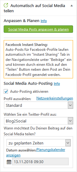 Über Blog2Social automatisiert planen und posten