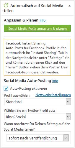 Über Blog2Social automatisiert posten