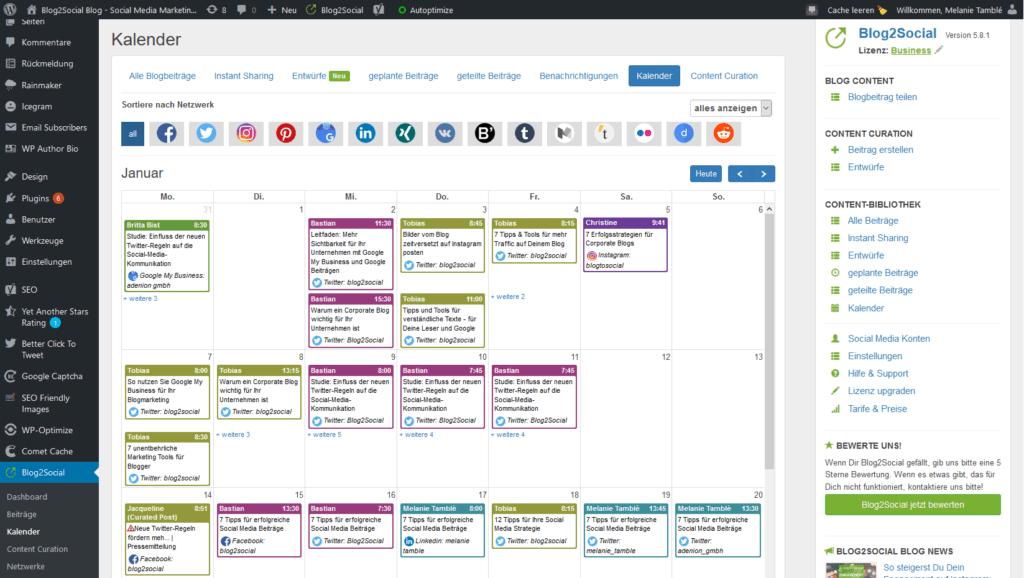 Social Media Planung mit dem Social Media Kalender