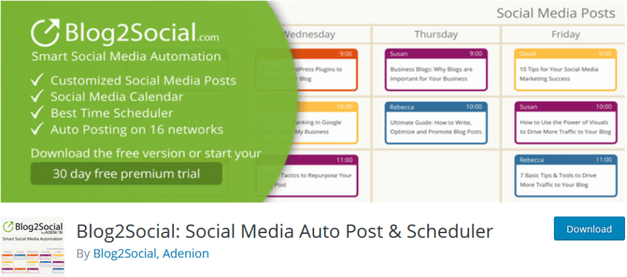Blog2Social Social Media Automatisierung und Planung