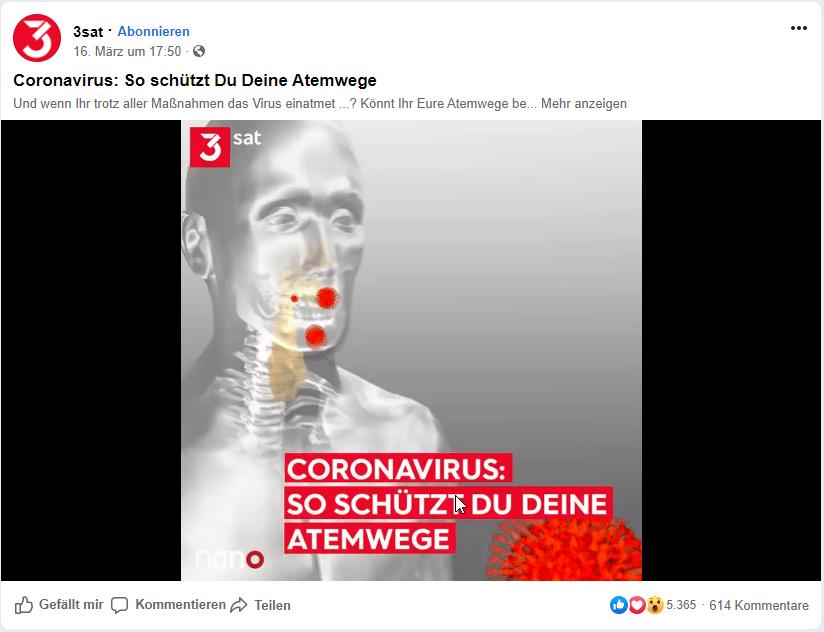 3Sat mit Informationen zum Corona Virus