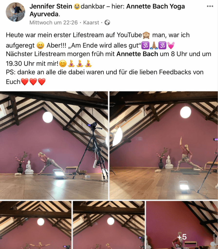 Yoga-Lehrerin Jennifer Stein bedankt sich bei der Community für die Teilnahme am LifeStream  https://www.facebook.com/jennifer.mbriwa/posts/10222761253278749