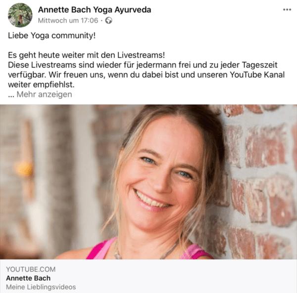 Annette Bach Yoga per Lifestream https://www.facebook.com/AnnetteBach.YogaAyurveda/posts/3583592641715321