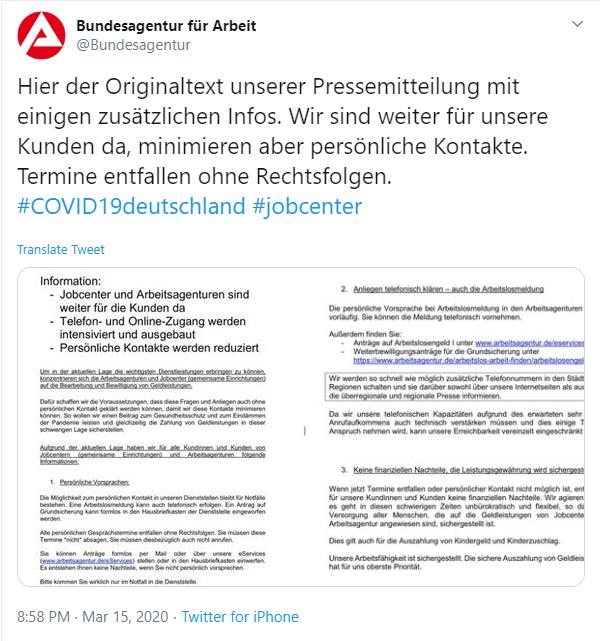 Bundesagentur für Arbeit versendet aktuelle Updates, u.a. auch Originaltexte der Pressemiteilungen