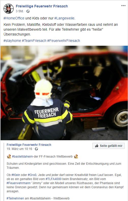 Freiwillige Feuerwehr Friesach unterhält Kinder mit einem Bastelwettbewerb