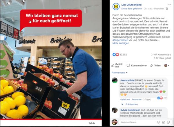 Lidl Deutschland informiert über fortlaufende Öffnung der Filialen