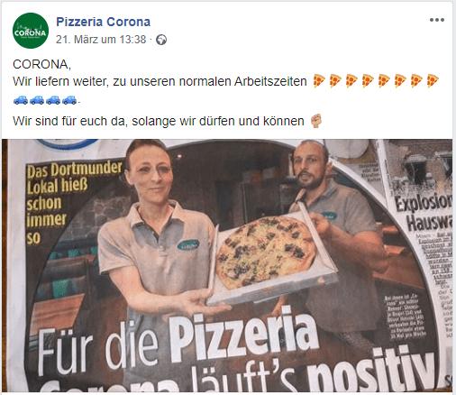 Pizza Corona stellt auf Lieferservice um