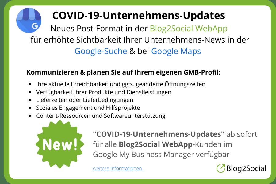 COVID-19 Unternehmens Updates über die Blog2Social WebApp erstellen