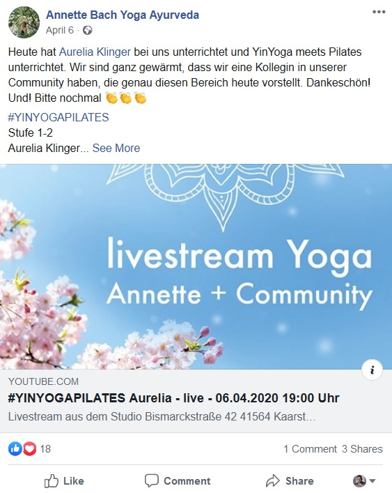 Social Media Post von Annette Bach zum Yoga-Lifestream
