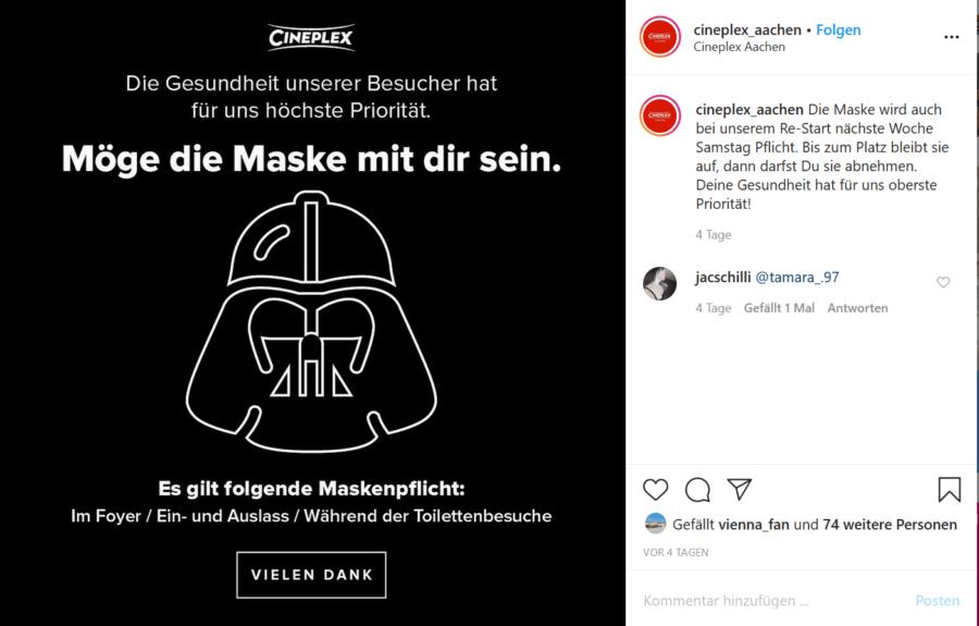 Cineplex Post zum Tragen der Maske im Kino