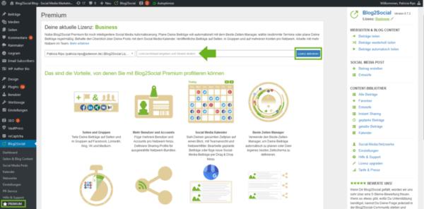 Blog2Social Lizenz aktivieren