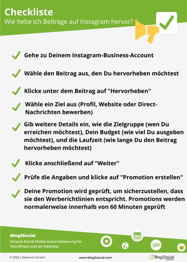 Checkliste: Wie hebe ich Beiträge auf Instagram hervor?