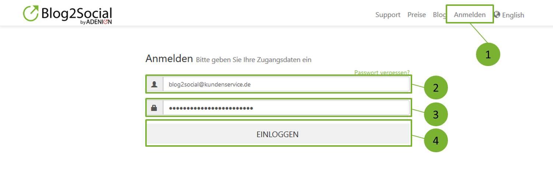 E-Mail Adresse und das Passwort von Blog2Social Account ändern