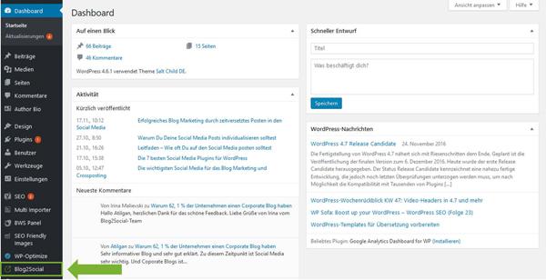 Blog2Social installieren