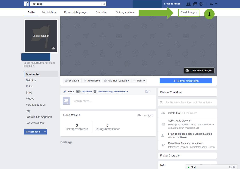 Beiträge auf Facebook Seite veröffentlichen - Schritt 1