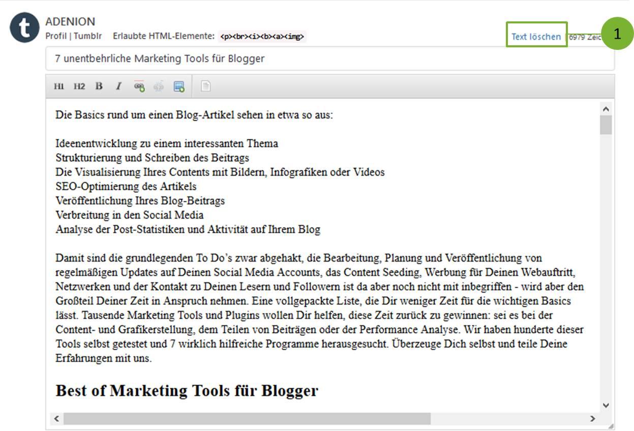 Blog2Social vorgegebenen Text löschen