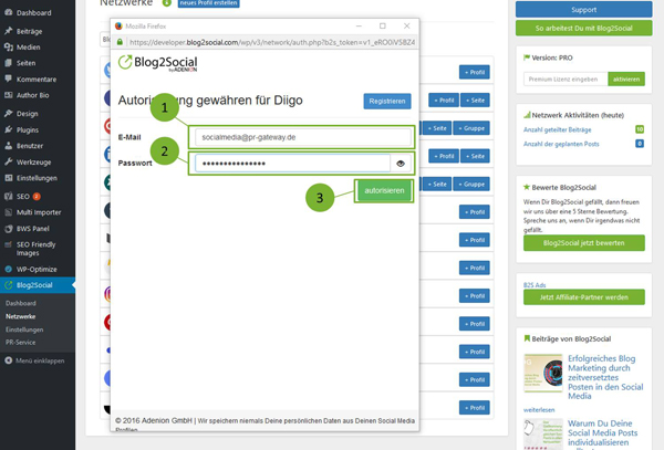 Blog2Social mit Diigo verbinden - Autorisierung mit sozialen Netzwerken