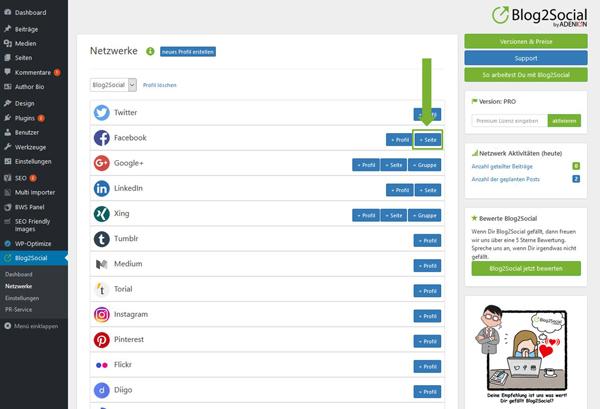 Blog2Social mit Facebook Seite verbinden Autorisierung mit sozialen Netzwerken