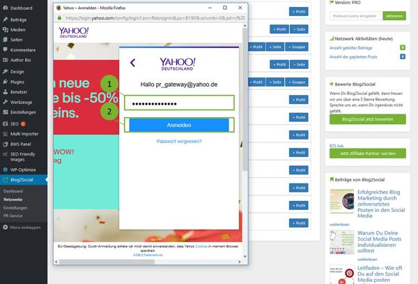 Blog2Social mit Flickr verbinden - Autorisierung mit sozialen Netzwerken