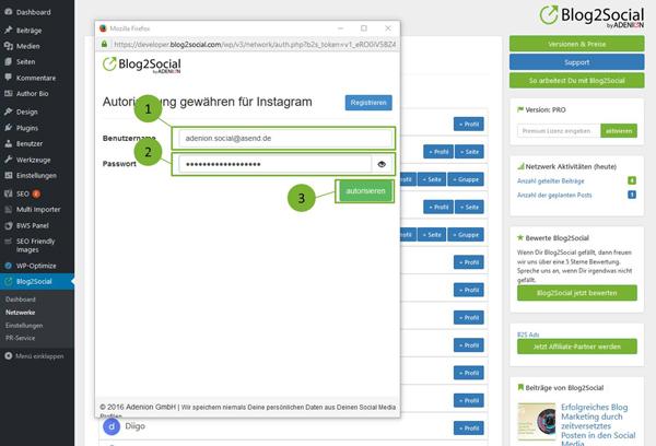 Blog2Social mit Instagram verbinden - Autorisierung mit sozialen Netzwerken