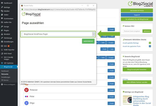 Blog2Social mit LinkedIn Seite verbinden - Autorisierung mit sozialen Netzwerken