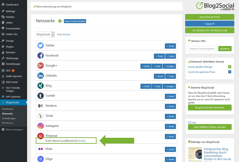 Blog2Social mit Pinterst verbinden - Autorisierung mit sozialen Netzwerken