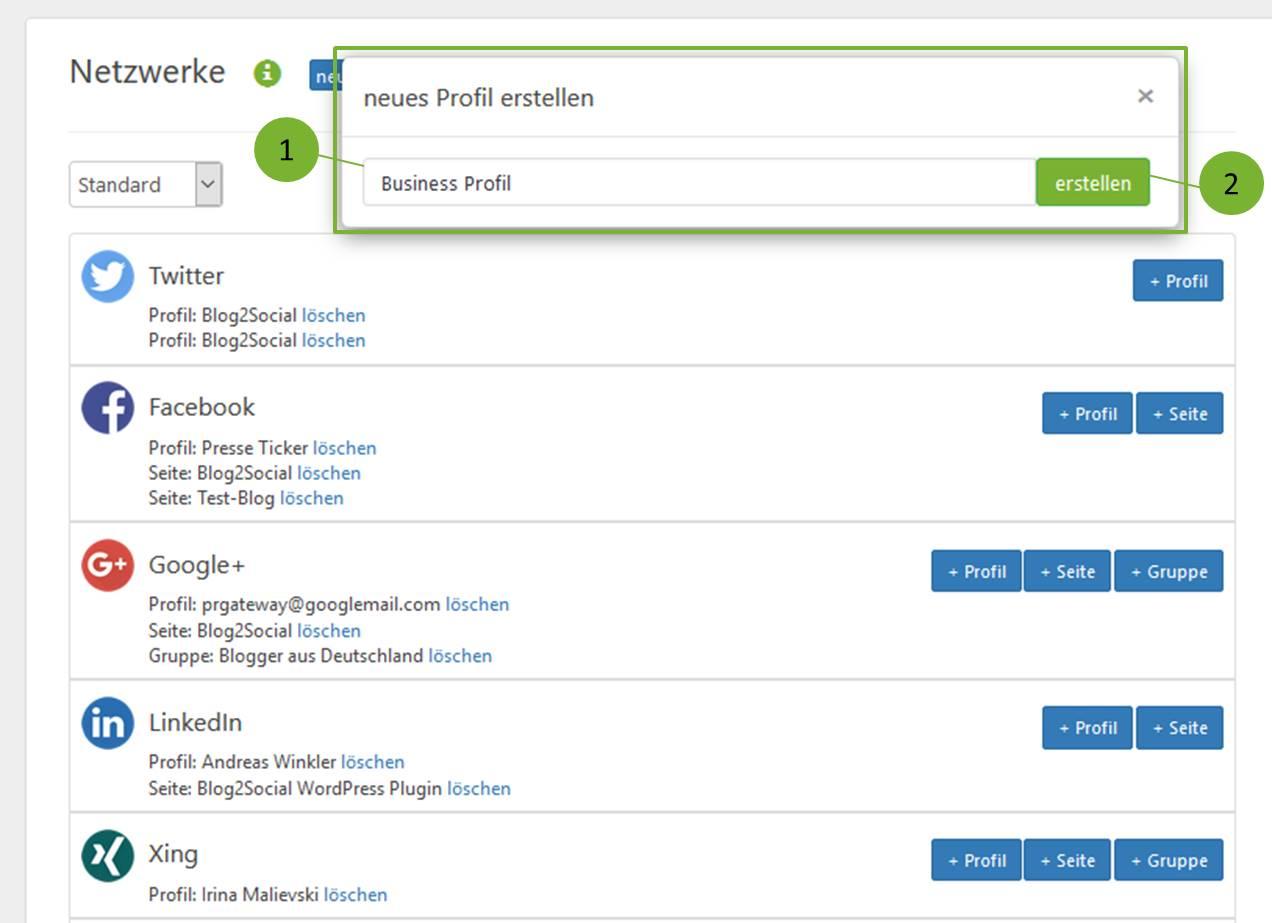 Blog2Social Profil anlegen