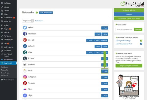 Blog2Social mit Torial verbinden - Autorisierung mit sozialen Netzwerken