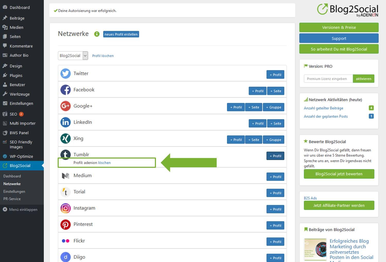 Blog2Social mit Tumblr verbinden - Autorisierung mit sozialen Netzwerken