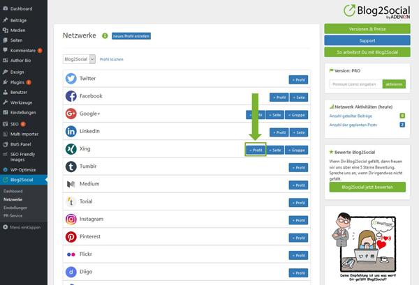 Blog2Social mit XING Profil verbinden - Autorisierung mit sozialen Netzwerken