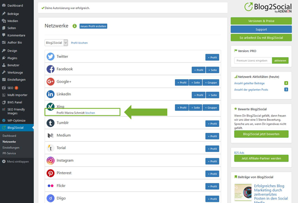 Blog2Social mit meinem XING Profil verbinden - Autorisierung mit sozialen Netzwerken