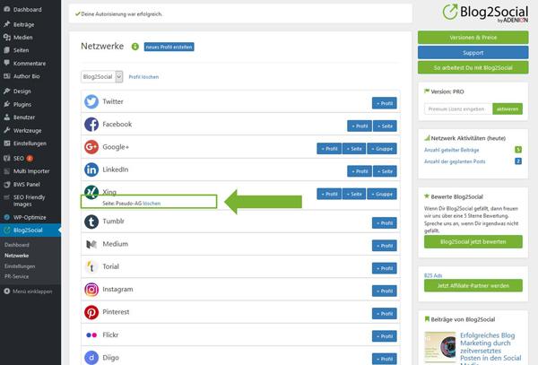 Blog2Social mit XING Seite verbinden - Autorisierung mit sozialen Netzwerken
