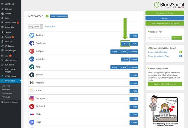 Blog2Social mit Facebook Profil verbinden Blog2Social mit Twitter verbinden - Autorisierung mit sozialen Netzwerken