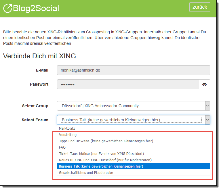 Blog2Social mit XING Gruppen verbinden - Autorisierung mit sozialen Netzwerken