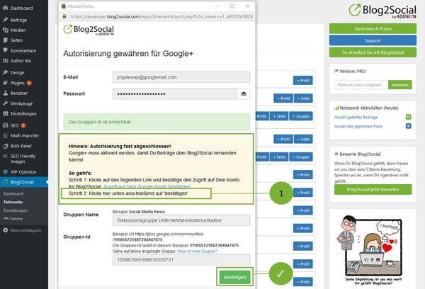 Blog2Social mit Google+ Gruppe verbinden - Autorisierung mit sozialen Netzwerken