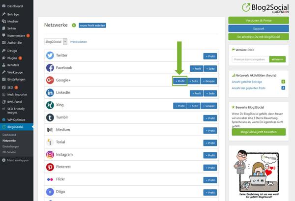 Blog2Social mit Google+ Profil verbinden Autorisierung mit sozialen Netzwerken