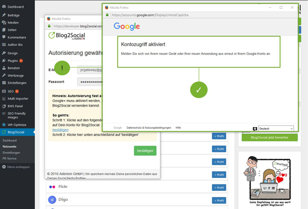 Blog2Social mit Google+ Profil verbinden  - Autorisierung mit sozialen Netzwerken
