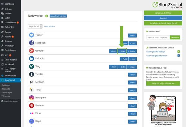 Blog2Social mit Google+ Seite verbinden - Autorisierung mit sozialen Netzwerken