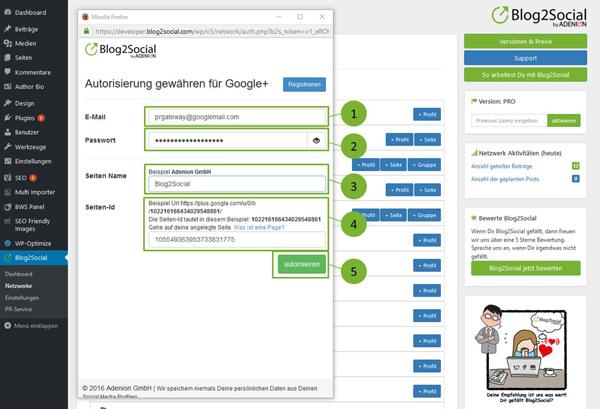 Blog2Social mit meiner Google+ Seite verbinden - Autorisierung mit sozialen Netzwerken