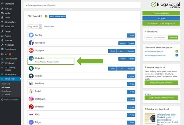 Blog2Social mit LinkedIn Profil verbinden - Autorisierung mit sozialen Netzwerken
