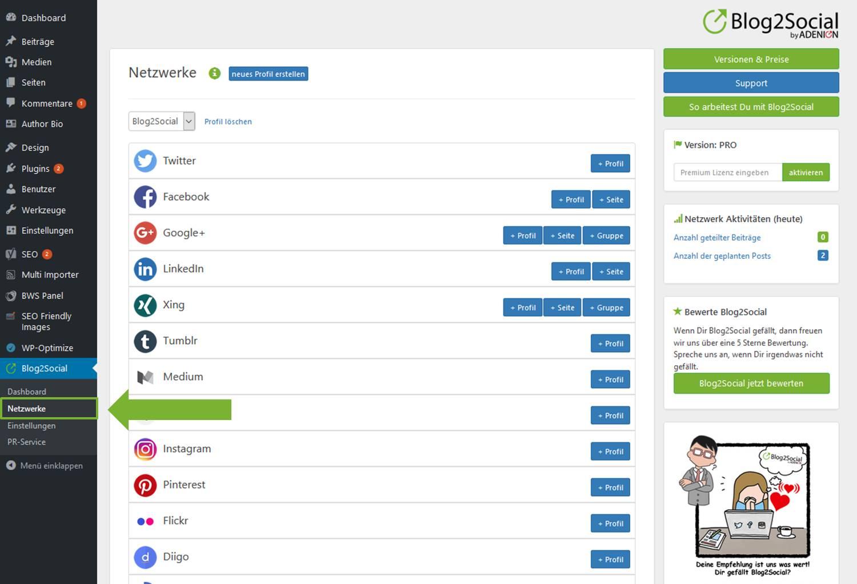 Blog2Social mit meiner XING Seite verbinden