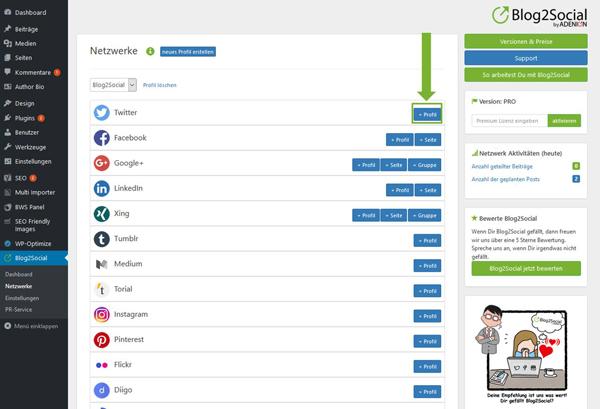 Blog2Social mit Twitter verbinden - Autorisierung mit sozialen Netzwerken
