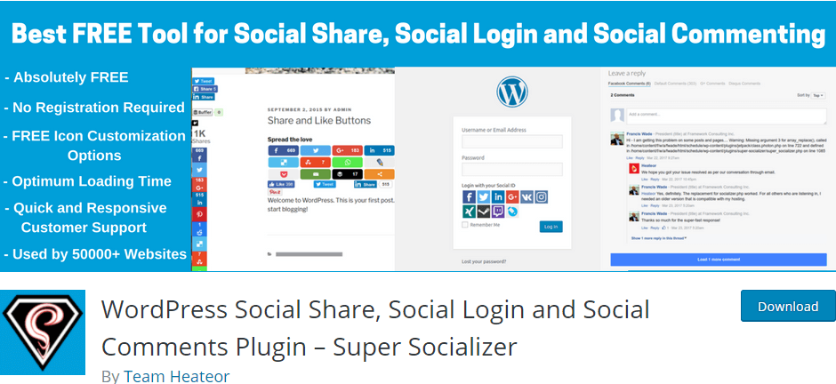 Super Socializer - WordPress Social Share, Social Login and Social Comments Plugin to place share and follow buttons on your site