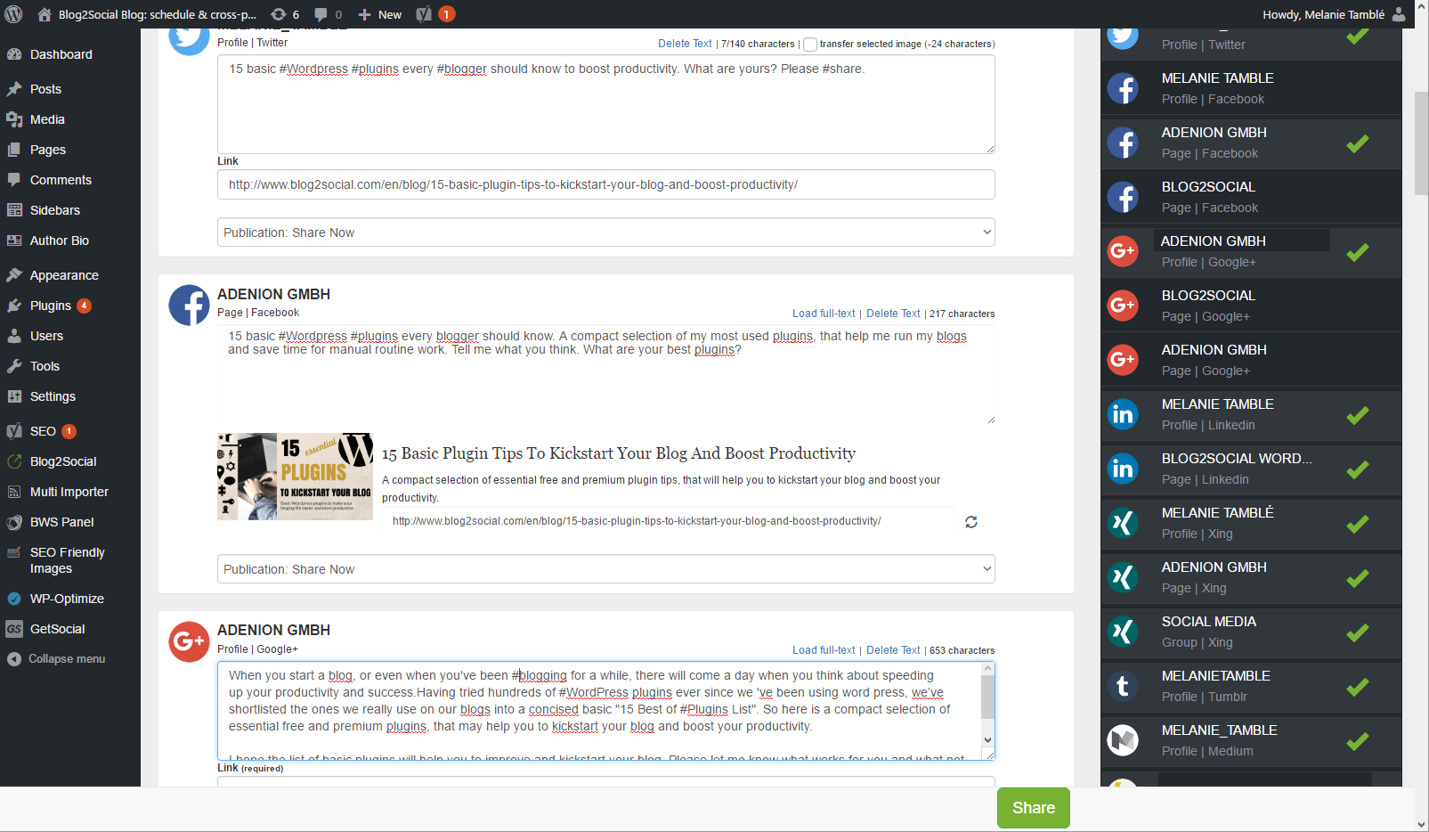 customizing blogposts