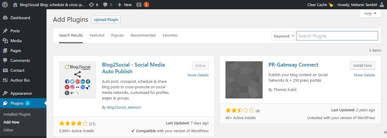 installing blog2social plugin