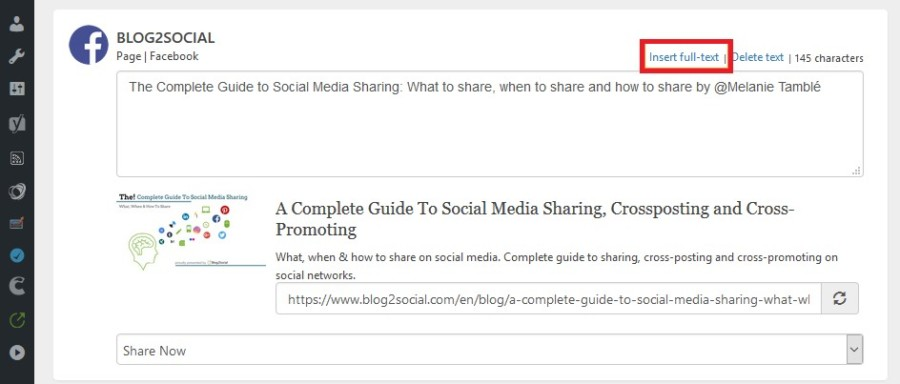 Blog2Social Posting Editor for Facebook