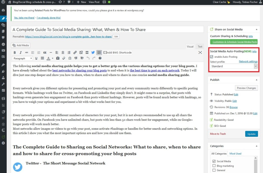 Blog2Social Auto-Posting enabled
