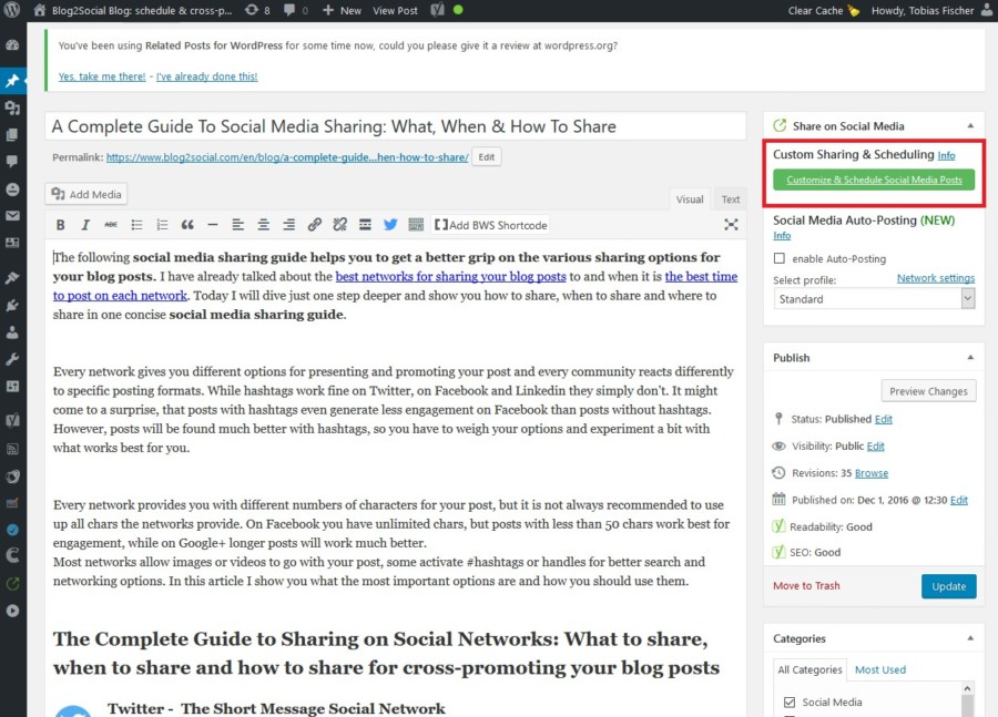 Blog2Social customize and schedule postings